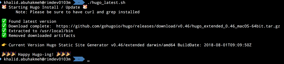 Install Hugo (Extended) Latest With Shell Script For macOS